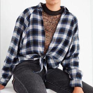 Tie Front Flannel Top